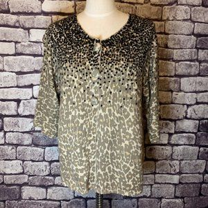 Chico's NWT Animal Print Sequin Sweater Size XL